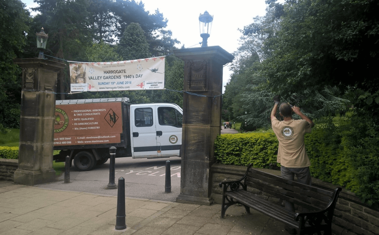 trimming hedges in front of a park in Harrogate